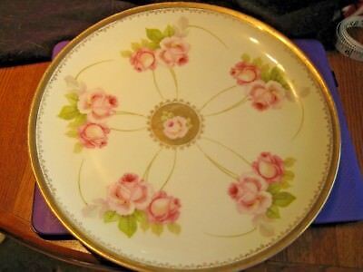 """Antique LDBC Bavaria with Crown 12"""" D Plate Gold Trim Pink Roses Germany"""