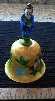China Chinese BELL Enamel on Brass Ancients Figural Handle