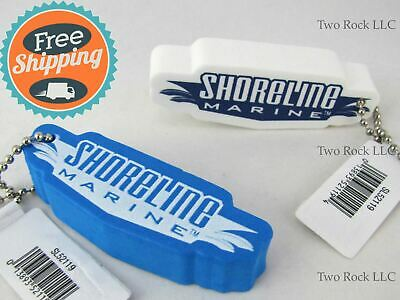2-PACK - Blue & White KEY CHAIN FLOAT - Floating Foam Tag Boating Fishing Kayak