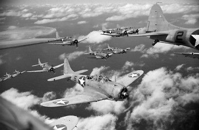 WW2  Photo WWII US Navy Dauntless SBD Dive Bombers Midway World War Two / 5312