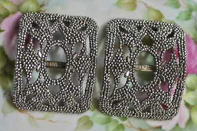 Pair of Deco Antique Vintage French Cut Steel Shoe Buckle Made in FRANCE