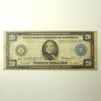 1914 $20 Federal Reserve Bank Note Large Size VG White-Melton A4651