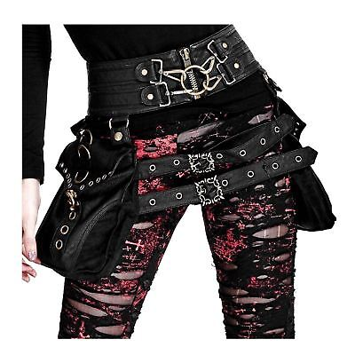 Women's Gothic Steampunk Costume Belts w/ Pouches Festival Accessory Black