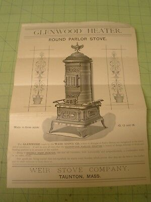 antique poster or ad Glenwood Round Parlor Stove , Weir Stove Co, Taunton MA