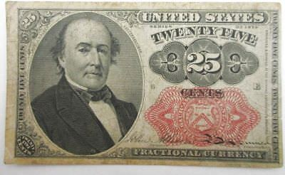 U.S. 25 Cent Fractional Currency Bank Note 1874 Allison Spinner Signature Combo