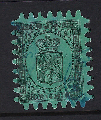 FINLAND :1866  Serpentine Roulette 8p black/blue-green  SG46 used-good'teeth'
