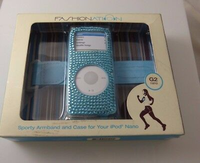 Bling for  iPod nano jeweled sporty armband & case blue crystals