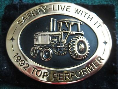 """John Deere Belt Buckle """"safety Live With It 1992 Top Performer"""" 1992"""