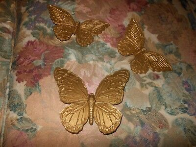 Homco Butterfly Set 3 Wall Plaques Sold Plastic Gold Etched