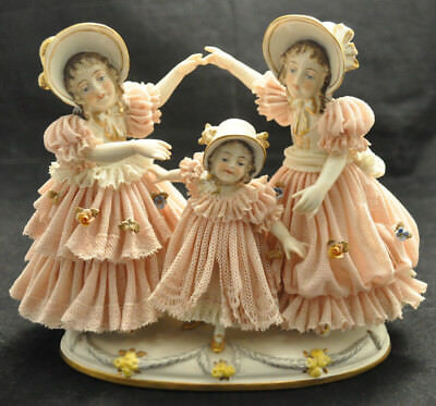 VTG Franz Witter Dresden German Lace Figurine 3 Girls Playing