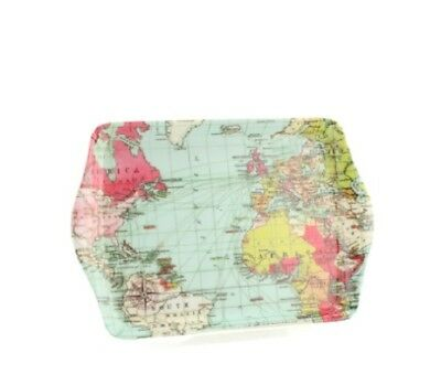 World Traveller Tray Snacks Food Tray Atlas Map Geography Holiday Travel Gift