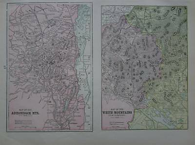 1901 Adirondack & White Mountains New Hampshire Color Map** Wagon Roads, RRs