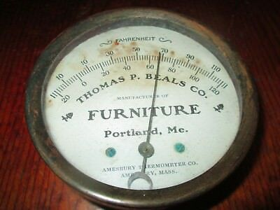 Advertising Amesbury Thermometer Thomas Beals Co. Furniture Portland Maine