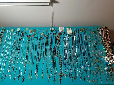 Huge lot of vintage/modern rosary and medallion Catholic Creed lot .925 150+pc