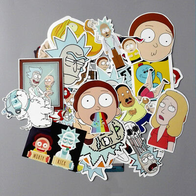 35 Pcs - Rick And Morty Car Wall Stickers Character Skateboard Laptop Stickers