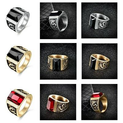 Vintage Stainless Steel Gold Silver Dragon Rings Antique Mens Biker Jewelry 8-12