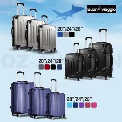 3pc Luggage Suitcase Trolley Set TSA Carry On Bag Hard Case Lightweight NEW