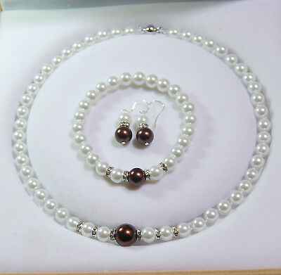 8-12MM White / Chocolate Shell Pearl Round Beads Necklace Bracelet Earrings Set