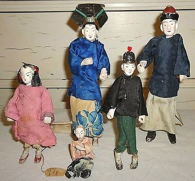 Antique Chinese Doll Family of 5 / Porcelain / Composition ~ 1930' Made In China