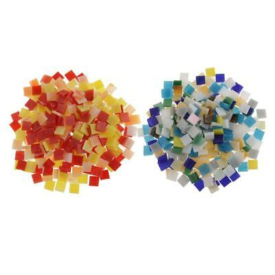 500 Pcs Vitreous Glass Mosaic Tiles for Arts DIY Multicolor,Red and Yellow