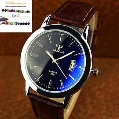 Military Leather Waterproof Date Quartz Analog Army Men's Wrist Watches+Gift