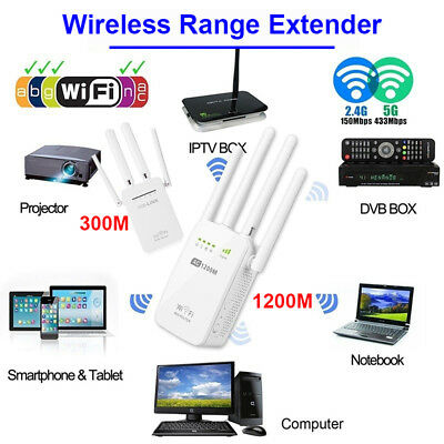 300/1200Mbps 5G Dual Band Wireless Range Extender WiFi Repeater Router 4 Antenna