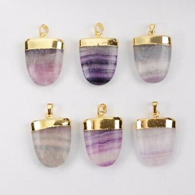 Clearance RANDOM 1 Pcs Gold Plated Natural Fluorite Faceted Pendant TG0532