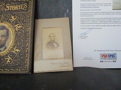 PSA ABE ABRAHAM LINCOLN Cut Signature on CDV  and YARNS & STORIES SALESMAN BOOK