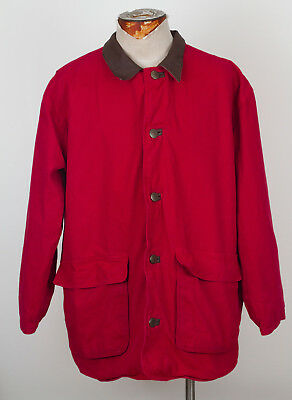 Vintage Marlboro Country Store red denim barnyard jacket leather collar MEDIUM