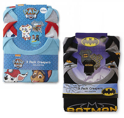 Baby Boys 3 Pack Bodysuits Paw Patrol Batman Novelty Rompers Vests Ex Store New