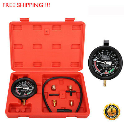 Fuel Pump Carburetor Valve Pressure Vacuum Tester Gauge Test Car Truck Kit Hook