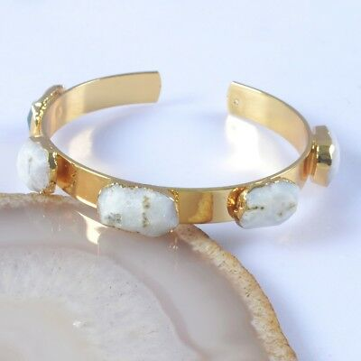 Natural Solar Quartz Stalactite Faceted Bangle Gold Plated T052590