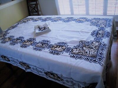 RARE c1900 ITALIAN ASSISI WORK LARGE TABLECLOTH&NAPKINS~BREATHTAKING WORK OF ART