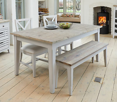 Signature Grey Painted Solid Wood Furniture 4 to 8 Seater Extending Dining Table