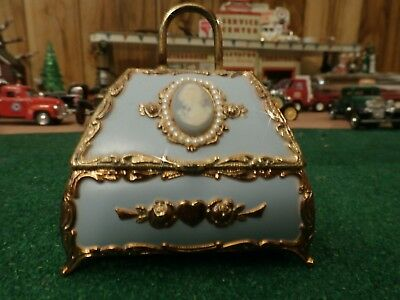 Music Box from the San Francisco Music Box Company-Ornate Blue & Gold -Edelweiss
