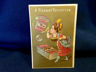 A Pleasant Reflection Bubble Blower Whale Soapine Victorian Trade Card RI 22