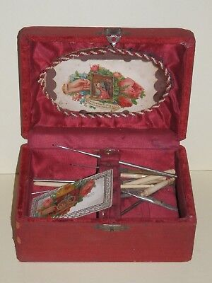 Antique Victorian Sewing Travel Box Case Lace Crochet Hook Bone Calling Card Red