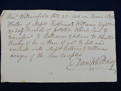 """1816 'Dangers of the Sea"""",Sloop Ship """"Hector"""",signed Whittelsey,Conn.,document!"""