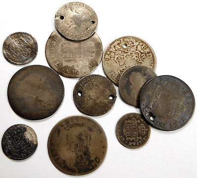 1753 - 1816 Spanish Real Coins - Holed & Damaged Silver Coinage