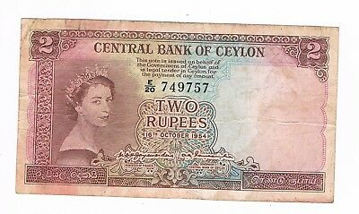 CEYLON  Two Rupees 1954  Central Bank of Ceylon   (N3/27)