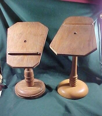 Two Old Antique Wooden Shoe Stands Store Display Vintage Turned Wood