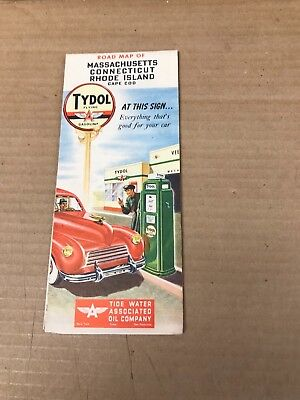 Vintage Flying A Tydol 1948 Massachusetts, Connecticut, Rhode Island Road Map