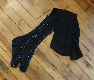 Vintage Antique Victorian Edwardian Black Stockings with Embroidery