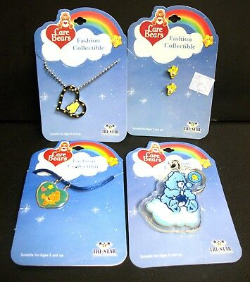 New Lot Of 4 Care Bears Jewelry Necklaces Dog Tags Earrings Keychain Carebears