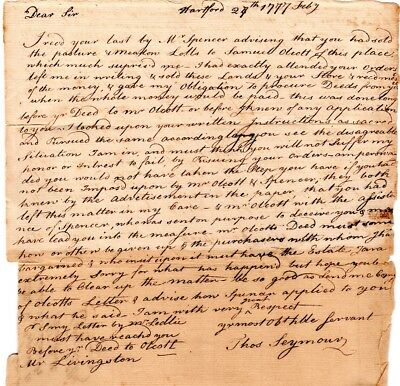 1777, Hartford, Colonel Thomas Seymour, letter re: not taking any more orders
