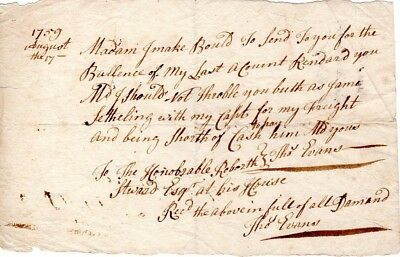 1759, Thomas Evans, signed receipt, money needed, Captain needs to be paid
