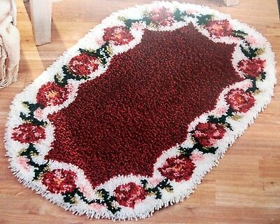 "Craftways Floral Latch Hook Rug  Kit ""rose Oval"""