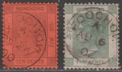 Hong Kong 1891-1900 QV 10c, 2c Used with FOOCHOW Postmarks China