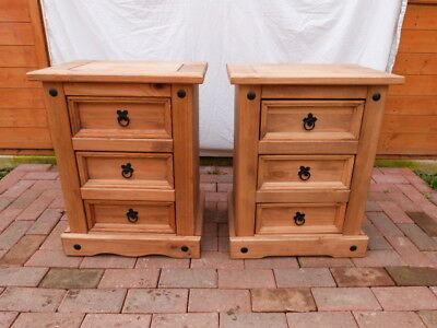 Lovely Pair Of Vintage Rustic Solid Pine Three Drawer Bedside Cabinets.