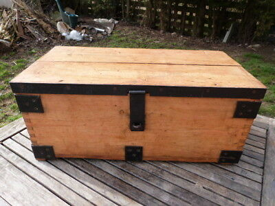 Lovely Antique Vintage Banded Solid Pine Strong/tool Box Chest.
